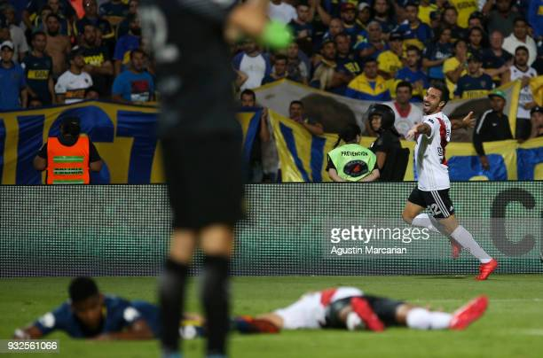 Ignacio Scocco of River Plate celebrates after scoring the second goal of his team during the Supercopa Argentina 2018 between River Plate and Boca...
