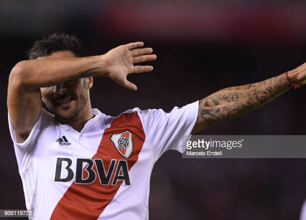 Ignacio Scocco of River Plate celebrates after scoring the second goal of his team during a match between River Plate and Belgrano as part of...
