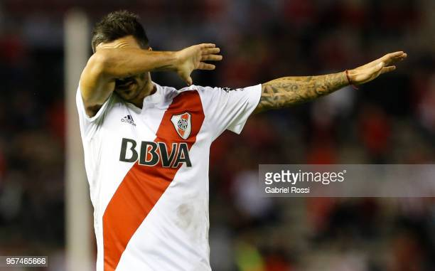 Ignacio Scocco of River Plate celebrates after scoring the second goal of his team during a match between River Plate and Estudiantes de La Plata as...