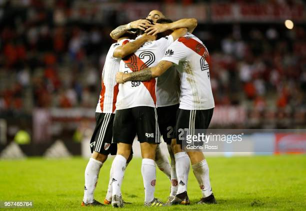 Ignacio Scocco of River Plate celebrates with teammates after scoring the second goal of his team during a match between River Plate and Estudiantes...