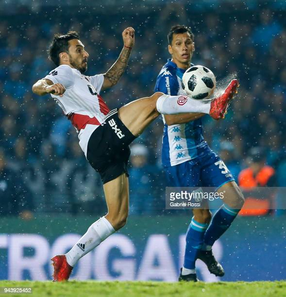 Ignacio Scocco of River Plate controls the ball during a match between Racing Club and River Plate as part of Argentina Superliga 2017/18 at...