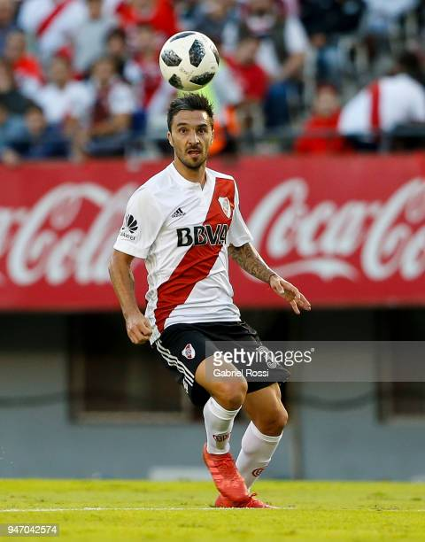 Ignacio Scocco of River Plate controls the ball during a match between River Plate and Rosario Central as part of Superliga 2017/18 at Estadio...