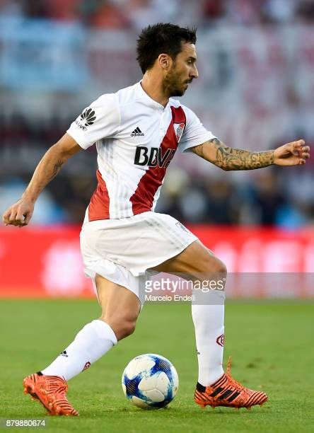 Ignacio Scocco of River Plate drives the ball during a match between River and Newell's Old Boys as part of Superliga 2017/18 at Monumental Stadium...
