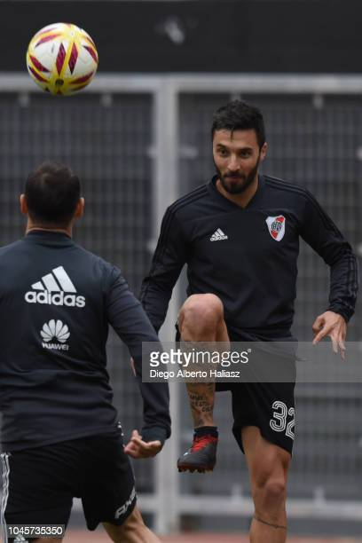 Ignacio Scocco of River Plate during a training session at Estadio Monumental Antonio Vespucio Liberti on September 27 2018 in Buenos Aires Argentina