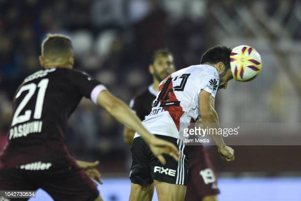 Ignacio Scocco of River Plate heads the ball during a match between Lanus and River Plate as part of Superliga 2018/19 at Estadio Ciudad de Lanus...