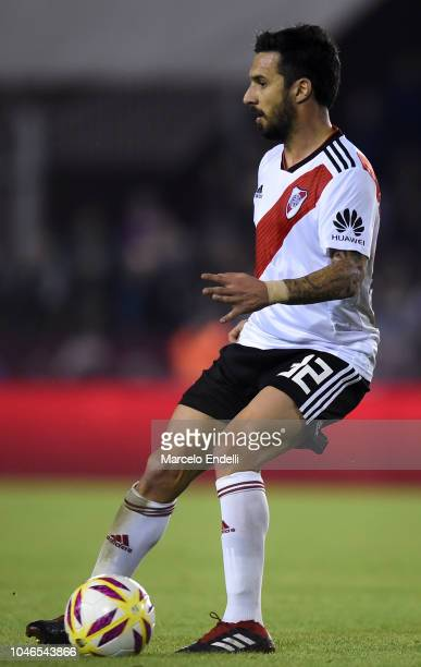 Ignacio Scocco of River Plate kicks the ball during a match between Lanus and River Plate as part of Superliga 2018/19 at Estadio Ciudad de Lanus...