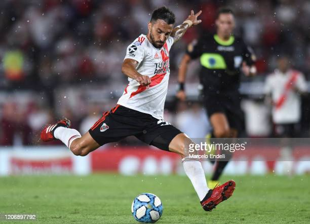 Ignacio Scocco of River Plate kicks the ball during a match between River Plate and Banfield as part of Superliga 2019/20 at Antonio Vespucio Liberti...