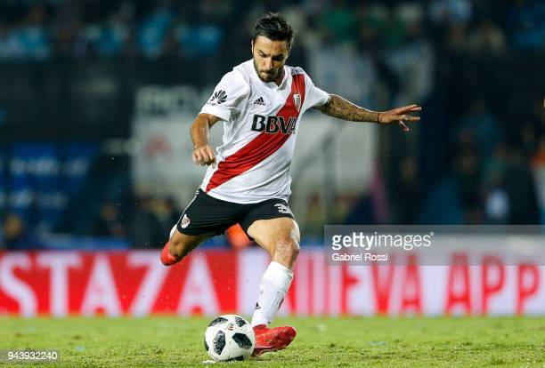 Ignacio Scocco of River Plate kicks the ball during a match between Racing Club and River Plate as part of Argentina Superliga 2017/18 at Presidente...