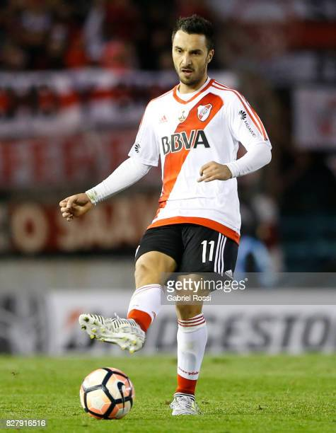 Ignacio Scocco of River Plate kicks the ball during a second leg match between River Plate and Guarani as part of round of 16 of Copa CONMEBOL...