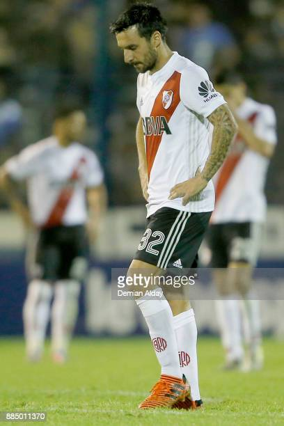 Ignacio Scocco of River Plate looks dejected after a match between Gimnasia y Esgrima La Plata and River Plate as part of the Superliga 2017/18 at...