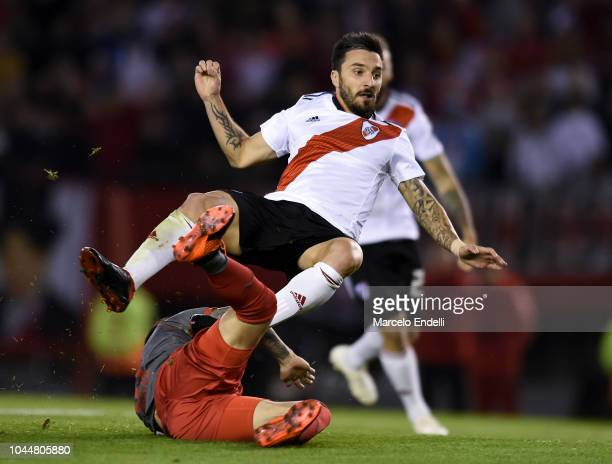 Ignacio Scocco of River Plate reacts after kicking the ball to score the first goal of his team during a quarter final second leg match of Copa...
