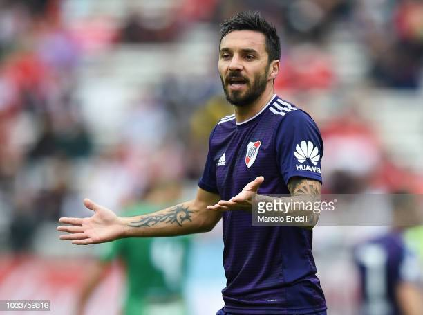 Ignacio Scocco of River Plate reacts during a match between River Plate and San Martin de San Juan as part of Superliga 2018/19 at Estadio Monumental...