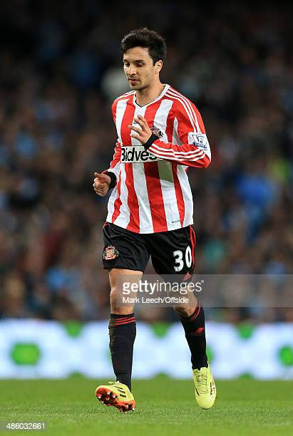 Ignacio Scocco of Sunderland in action during the Barclays Premier League match between Manchester City and Sunderland at the Etihad Stadium on April...