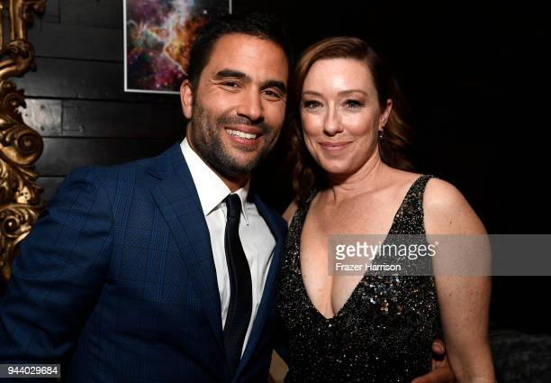 Ignacio Serricchio and Molly Parker attend the Premiere Of Netflix's 'Lost In Space' Season 1 After Party at Le Jardin LA on April 9 2018 in Los...