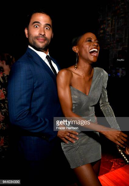Ignacio Serricchio and Sibongile Mlambo attend the Premiere Of Netflix's 'Lost In Space' Season 1 After Party at Le Jardin LA on April 9 2018 in Los...