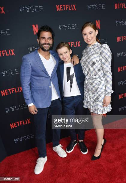 Ignacio Serricchio Maxwell Jenkins and Mina Sundwall attend the Netflix FYSee Kick Off Party at Raleigh Studios on May 6 2018 in Los Angeles...