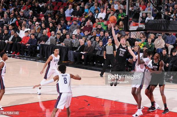 Ignas Brazdeikis of Team World drives to the basket against Team USA during the Nike Hoop Summit on April 13 2018 at the MODA Center Arena in...