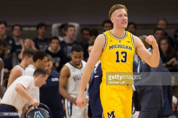 Ignas Brazdeikis of the Michigan Wolverines reacts after a timeout in the first half against the Villanova Wildcats at Finneran Pavilion on November...