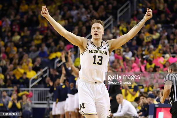 Ignas Brazdeikis of the Michigan Wolverines reacts to a first half three point basket while playing the Maryland Terrapins at Crisler Arena on...