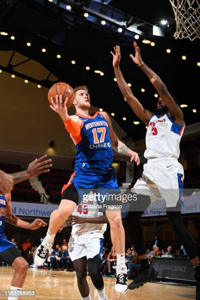 Ignas Brazdeikis of the Westchester Knicks shoots the ball against the Grand Rapids Drive on November 18 2019 at the Westchester County Center in...