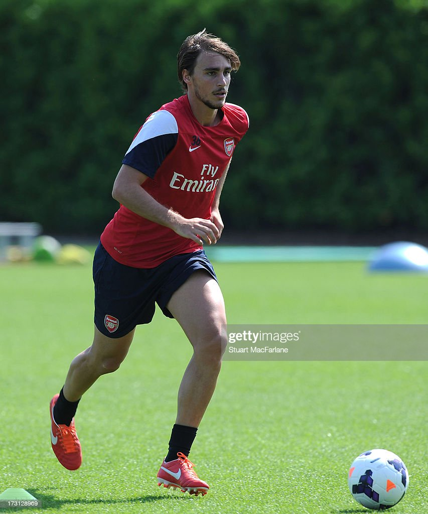 Ignasi Miquel of Arsenal in action during a training session at London Colney on July 08, 2013 in St Albans, England.