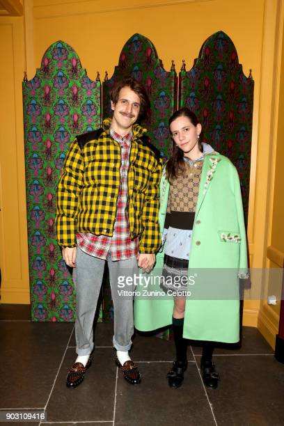 Ignasi Monreal and Coco Capitan attend Gucci Garden Opening on January 9 2018 in Florence Italy