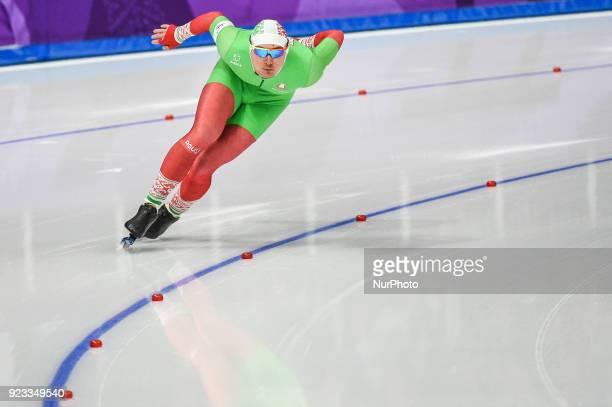 Ignat Golovatsiuk of Belarus at 1000 meter speedskating at winter olympics Gangneung South Korea on February 23 2018