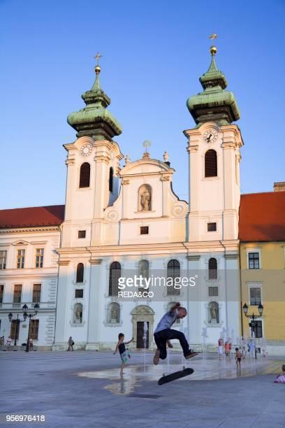 Ignatius church in Gyoer Szechenyi Ter fa�ade Europe Eastern Europe Hungary Gyoer