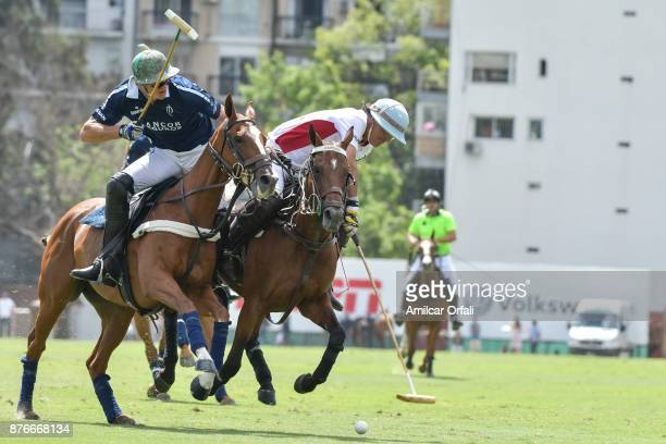 Ignatius Du Plessis of La Dolfina competes for the ball with Alberto Heguy during a match between La Dolfina Polo Ranch and Chapaleufu as part of the...