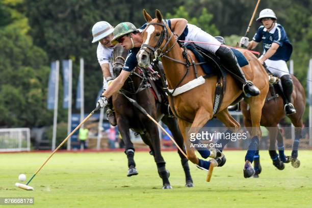 Ignatius Du Plessis of La Dolfina hits the ball during a match between La Dolfina Polo Ranch and Chapaleufu as part of the HSBC 124° Argentina Polo...