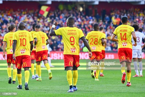 Ignatius GANAGO of Rc Lens celebrates his goal during the Ligue 1 Uber Eats match between Lens and Metz at Stade Bollaert-Delelis on October 24, 2021...