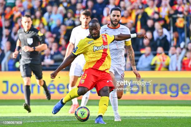 Ignatius GANAGO of Rc Lens scores a goal during the Ligue 1 Uber Eats match between Lens and Metz at Stade Bollaert-Delelis on October 24, 2021 in...