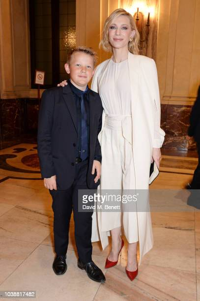 Ignatius Upton and Cate Blanchett, wearing Stella Mccartney, attend The Green Carpet Fashion Awards Italia 2018 after party at Gallerie d'Italia on...