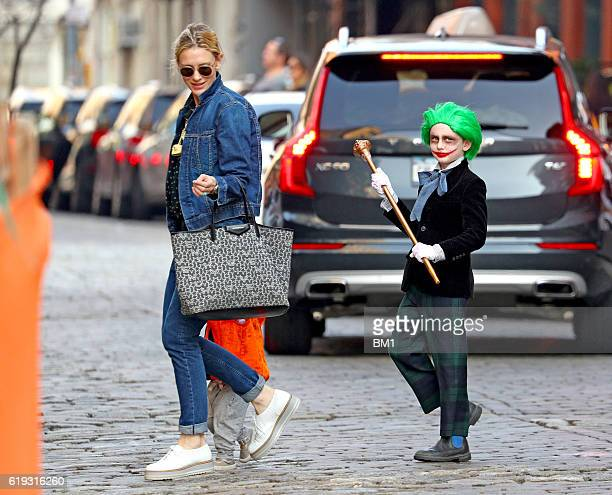 Ignatius Upton is seen with his mother Cate Blanchett trick or treating on October 30 2016 in New York City