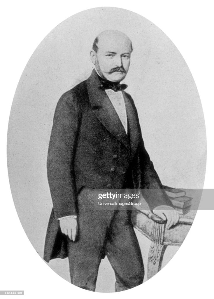 Ignaz Philip Semmelweis (1818-1865) Hungarian obstetrician. Discovered cause of puerperal fever and introduced antiseptic measures in Vienna maternity hospital. Reduced mortality from 18.27% to 1.27%. ... : News Photo