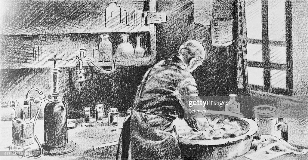 Illustration of Ignaz Semmelweis Washing Hands before Operating : News Photo