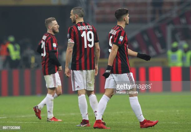 Ignazio Abate Lucas Biglia Leonardo Bonucci and Andre Silva of AC Milan shows their dejection at the end of the serie A match between AC Milan and...