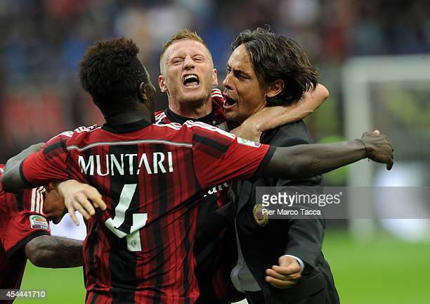 Ignazio AbateSulley Ali Muntari and Filippo Inzaghi of AC Milan celebrate the goal of 20 during the Serie A match between AC Milan and SS Lazio at...