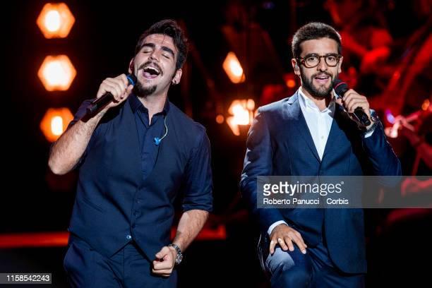 Ignazio Boschetto and Piero Barone of the group Il Volo performs at Auditorium Parco Della Musica on June 26 2019 in Rome Italy