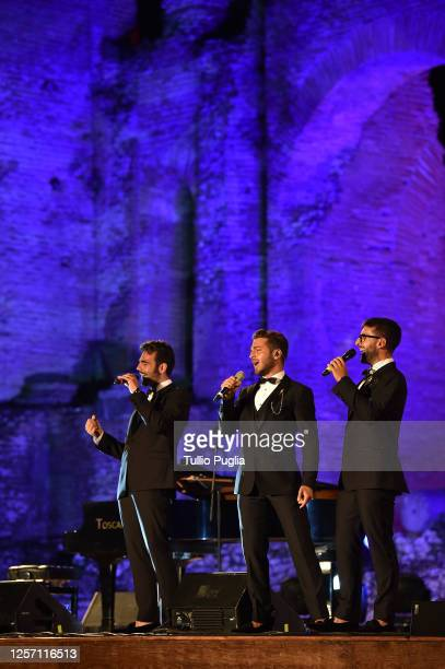 Ignazio Boschetto Gianluca Ginoble and Piero Barone of Il Volo performduring the closing night of the Taormina Film Festival on July 18 2020 in...
