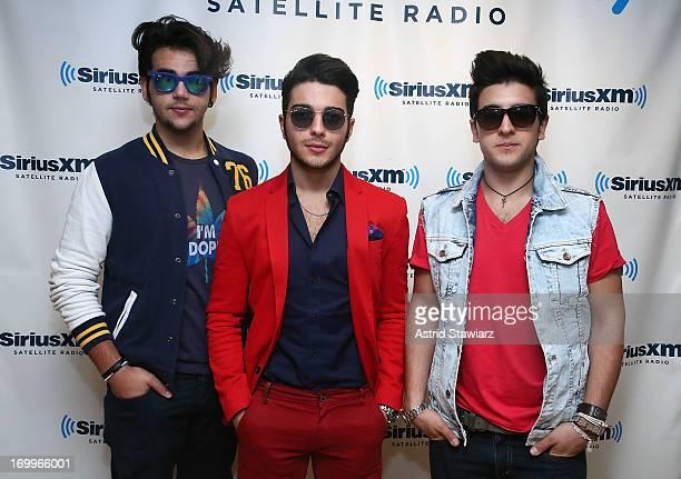 Ignazio Boschetto Gianluca Ginoble and Piero Barone of the Italian trio Il Volo visit SiriusXM Latino at SiriusXM Studios on June 5 2013 in New York...