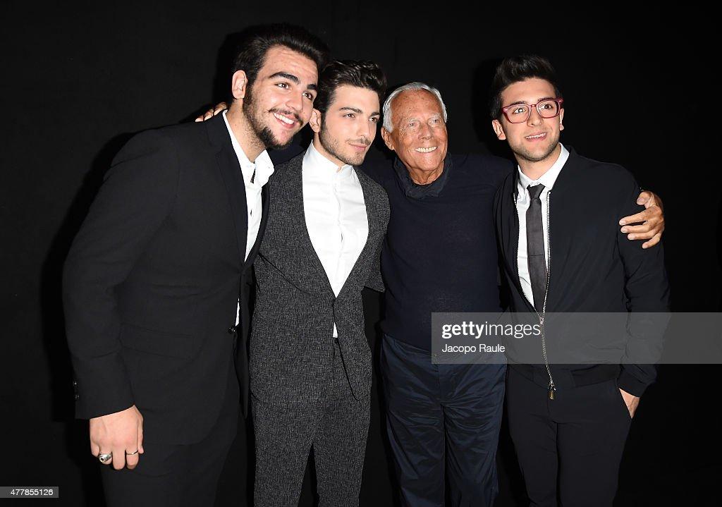 38260625ff9 Ignazio Boschetto, Gianluca Ginoble, Fashion Designer Giorgio Armani ...