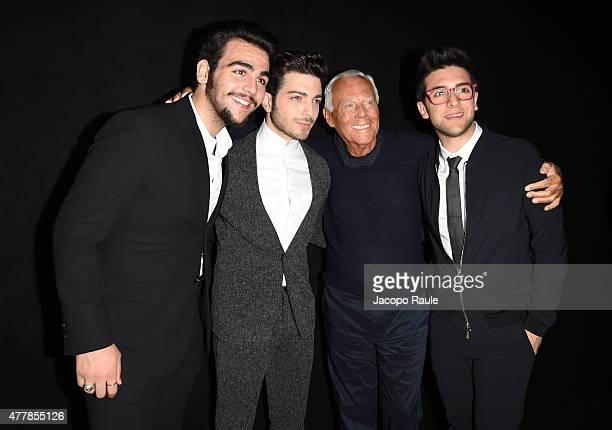 Ignazio Boschetto Gianluca Ginoble Fashion Designer Giorgio Armani and Piero Barone attend the Emporio Armani fashion show during the Milan Men's...