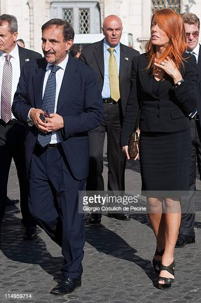 Ignazio La Russa and Michela Vittoria Brambilla arrive at the Quirinale Palace to attend the Annual Party hosted by Italy's President Giorgio...
