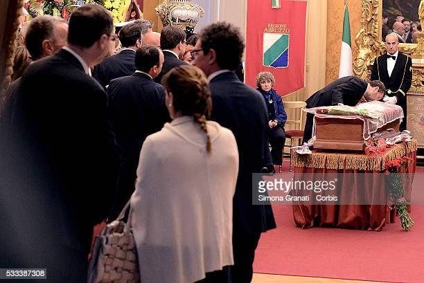 ROME ITALY MAY Ignazio Marino kisses the coffin chamber in Parliament for the Radical Party leader Marco Pannella who died yesterday in Rome to 86...