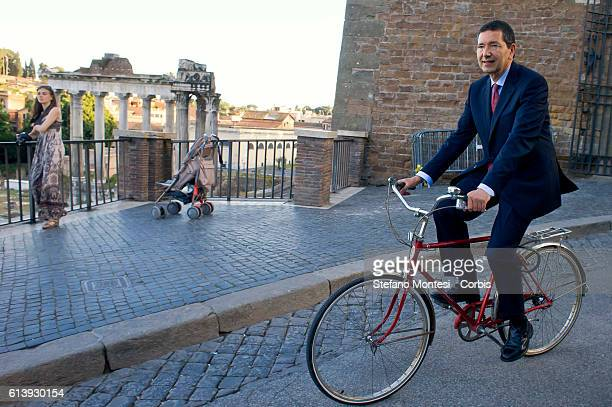 Ignazio Marino new Mayor of Rome on bicycles at the Capitol for the handover with the outgoing mayor Gianni Alemanno on June 12 2013 in Rome Italy