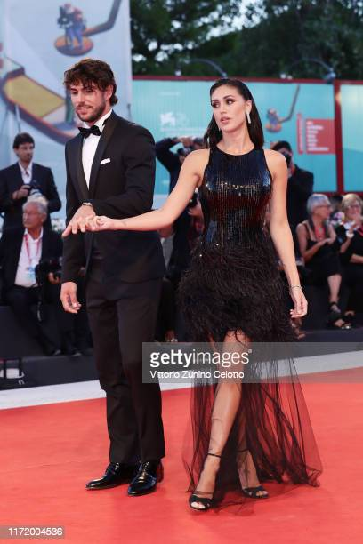 Ignazio Moser and Cecilia Rodríguez walk the red carpet ahead of the Om Det Oandliga screening during the 76th Venice Film Festival at Sala Grande on...