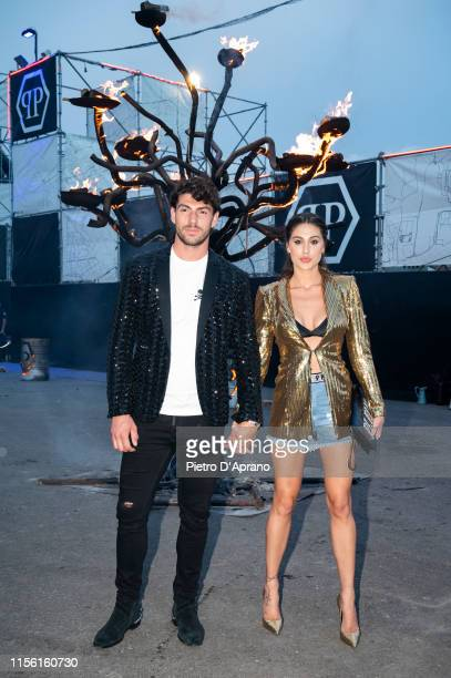 Ignazio Moser and Cecilia Rodriguez arrive at the Philipp Plein fashion show during Milan Men's Fashion Week Spring/Summer 2020 on June 15 2019 in...