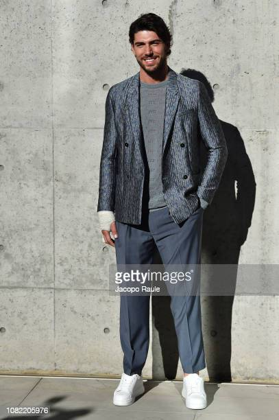 Ignazio Moser arrives at the Emporio Armani show during Milan Menswear Fashion Week Autumn/Winter 2019/20 on January 14 2019 in Milan Italy