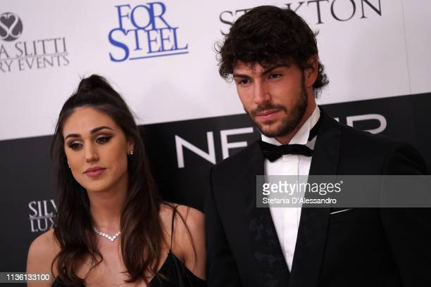 Ignazio Moser e Cecilia Rodriguez are seen on red carpet of Never Give Up Onlus on March 15 2019 in Milan Italy